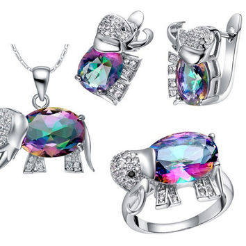 Elephant Baby & Kids Jewelry Sets, 925 Silver Set Children Jewelry Austrian Crystal Necklace Earrings Ring Conjuntos