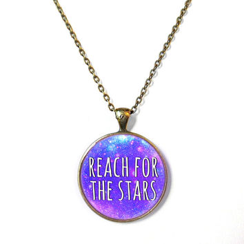 Galaxy reach for the stars Necklace - Motivational and inspirational Pendant with Small Arrow