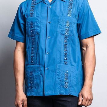 Men's Short Sleeve Cuban Style Guayabera Shirt 2000-1 (Blue)