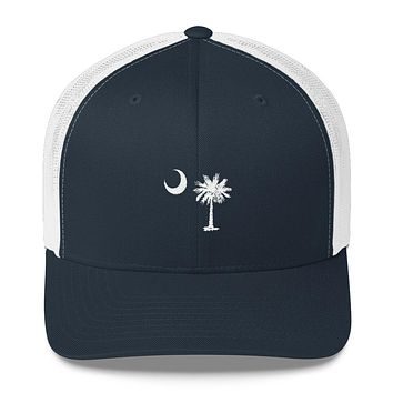 South Carolina Palmetto Moon Embroidered Trucker Cap