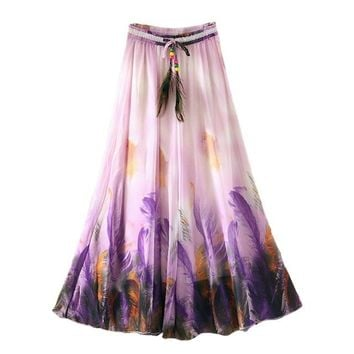 Chiffon Women Skirt 90CM Long Bohemian Mujer Tutu Harajuku Casual Summer Skirt Saia Beach Woman Clothes Vintage Fashion Clothing