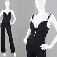 Vintage 80s 90s Black Catsuit 80s Jumpsuit Open Back Backless Jump Suit Italian Designer Womens Cat Suit Flared Leg Sexy Jumper Stretchy
