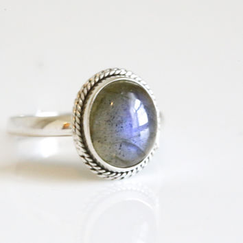 Labradorite 925 Sterling Silver Ring US6