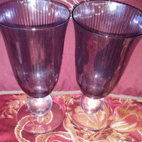 Two Stunning Opalescent Smokey Amethyst Ice Tea Tumblers / Goblets / Cocktail Glasses With Huge Ball Stems