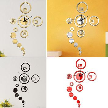 Removable Mirror Style Wall Clock Wall stickers DIY Decal Vinyl Art Wall Sticker Home Bedroom Office Decor Decoration Decals Y1