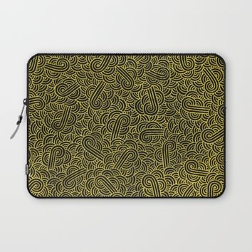 Black and golden zentangles Laptop Sleeve by Savousepate