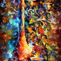 EVENING — Palette knife Oil Painting on Canvas by Leonid Afremov - Size 16x40. 10% discount coupon - deviantart10off
