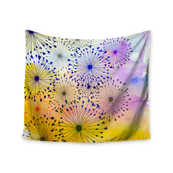 "Sreetama Ray ""Bursting Blossoms"" Yellow Purple Wall Tapestry"