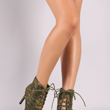 Camouflage Quilted Puffer Lace Up Stiletto Booties