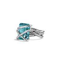 Cable Wrap Ring with Blue Topaz and Diamonds - David Yurman