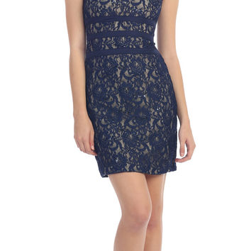 Two Tone Navy Blue Gold Overlay Short Lace Dress Wide Strap