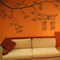 Vinyl Wall Decal Sticker Cherry Blossom Branch And Torii #1512