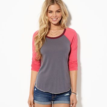 AE Contrast Baseball T-Shirt, Sparkling Cosmo | American Eagle Outfitters