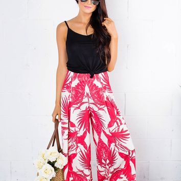 Red Tropical Print Pants