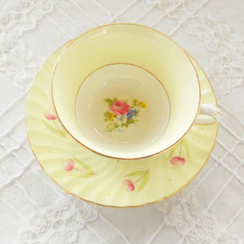 Vintage Mismatched Footed Tea Cup and Saucer Set, Tea Party, Cottage Style, Downton Abbey, Wedding, English Bone China
