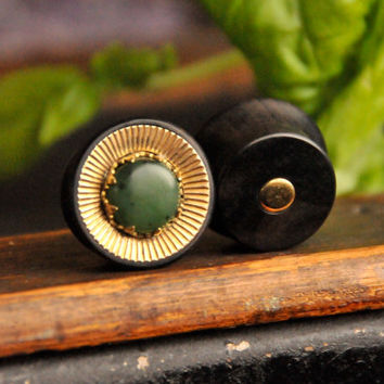 Ebony Plugs with corrugrated Brass disk and crown set Nephrite Jade