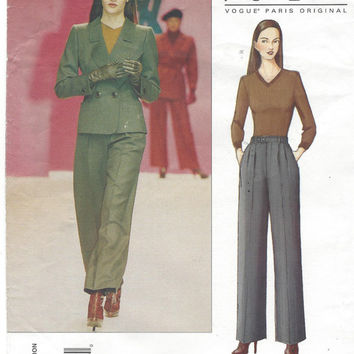YSL Vogue Paris Original Sewing Pattern 2519 Womens Retro Jacket & Pants Size 8 10 12 Bust 31 1/2 to 34 UnCut Yves Saint Laurent