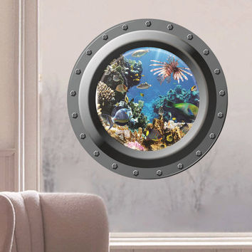Cute Kawaii 3D Sea World Marine life Removable Home Decor Plastic Art Wall Stickers Decal Wallpaper For living Room Bedroom