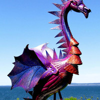 Deep Purple Dragon flamingo  - handmade, garden art sculpture created from a recycled plastic flamingo.