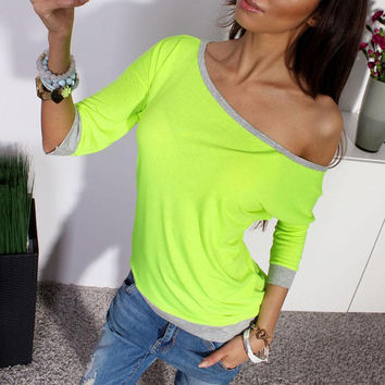 Women Long Sleeve Loose Casual Off Shoulder Tees T shirt Tops Multi color Female Plus Size T-shirt