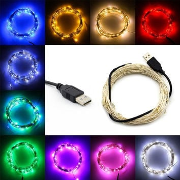 10M 100 LEDs strips Lamp Beads USB Copper Waterproof Holiday String Lights for Christmas Halloween Wedding Outdoor Decoration