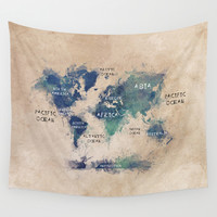 Map of the World Wall Tapestry by Jbjart | Society6