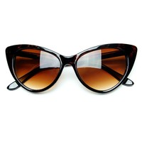 Super Cateyes Vintage Inspired Fashion Mod Chic High Pointed Cat-Eye Sunglasses (Dark Tortoise)