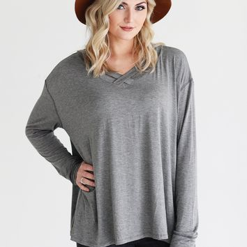 Dark Heather Gray PIKO Slouchy Criss Cross Long Sleeve Top