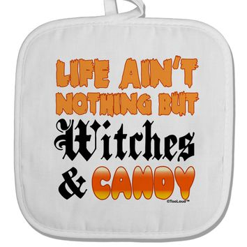 TooLoud Witches and Candy Color White Fabric Pot Holder Hot Pad