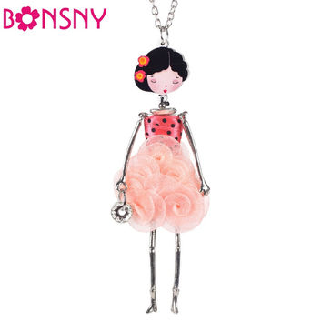 Bonsny French  Paris Doll Necklace Dress Flower Long Chain Alloy Doll Pendant Fashion Jewelry For Women 2017 News   Accessories