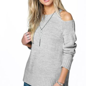 Maya Side Split Cut Out Shoulder Soft Knit Jumper