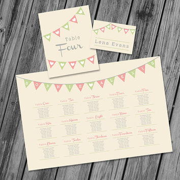 Wedding Seating Chart Wedding Place Card Wedding Table Number - Printable PDF   - Happy Lover