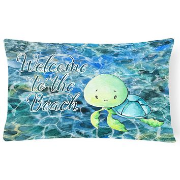 Sea Turtle Welcome Canvas Fabric Decorative Pillow BB8520PW1216