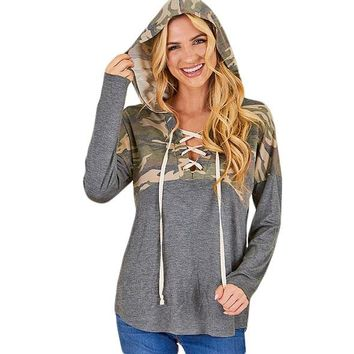 Cozy Up Lace Up Hoodie in Camo