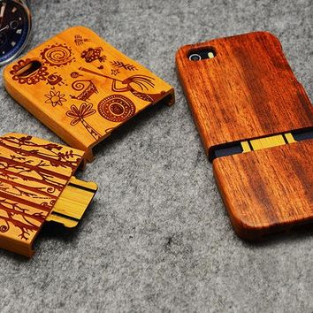 High Quality Wood Case for iPhone 5 5s SE Wooden New Cover Natural Real Bamboo Carving Wood Back Cover For iphone 5s SE