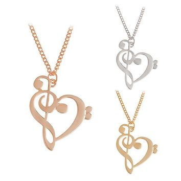 Heart Shaped Bass and Treble Clef Pendant Necklace