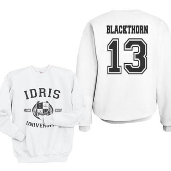 Blackthorn 13 IDRIS University Shadowhunters The Mortal Instruments Unisex Crewneck Sweatshirt White