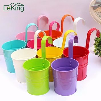 1Pc Colorful Hanging Flower Pots Metal Iron Balcony Garden Plant Planter With Detachable Hook For Home Decor