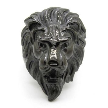 Punk Rock Stainless Steel Mens Jewelry, New Cool Fashion Male Black Lion King Head Rings Biker