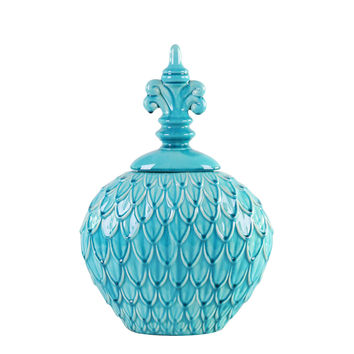 Textured Turquoise Blue Urn - Small