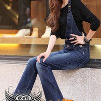 Women's Stretchy Denim Bib Jeans Halter-Neck Jumpsuit Simi-Boot Cut Legs