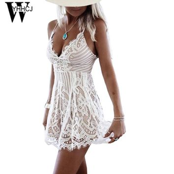 WYHHCJ 2017 sexy off shoulder women jumpsuit beach backless lace summer bodysuit women deep v neck bodycon jumpsuits femme