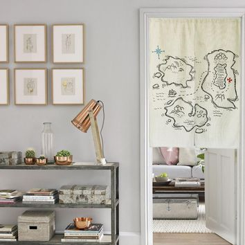 "Japanese Noren Doorway Curtain / Tapestry 33.5"" Width x 47.2"" Long with Adventure Maps"