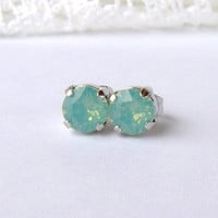 Pacific Opal rhinestone earrings / 6mm / Swarovski earrings / post earrings