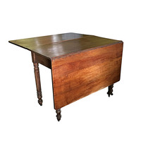 1890s Table, Folding Modern Farmhouse Furniture, Hardwood, Fluted Legs on Casters, Vintage Dining Table