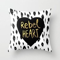 Rebel Heart Decorative pillow cover- black, white and gold- gold typography- heart- modern home decor-teen decor-dorm room decor