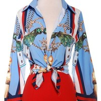 Nautical Wings Button Up Blouse