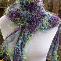 Delicate Knit Scarf Eyelash Fiber Lavender and Green Tones Lightweight Fashion Accessory