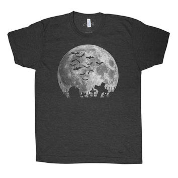 Halloween Moon T-shirt Men Graphic Tee Custom Hand Screen Printed on American Apparel Tri-Blend Short Sleeve