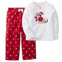 Carter's Dog & Christmas Stocking Microfleece Pajama Set - Baby Girl, Size: